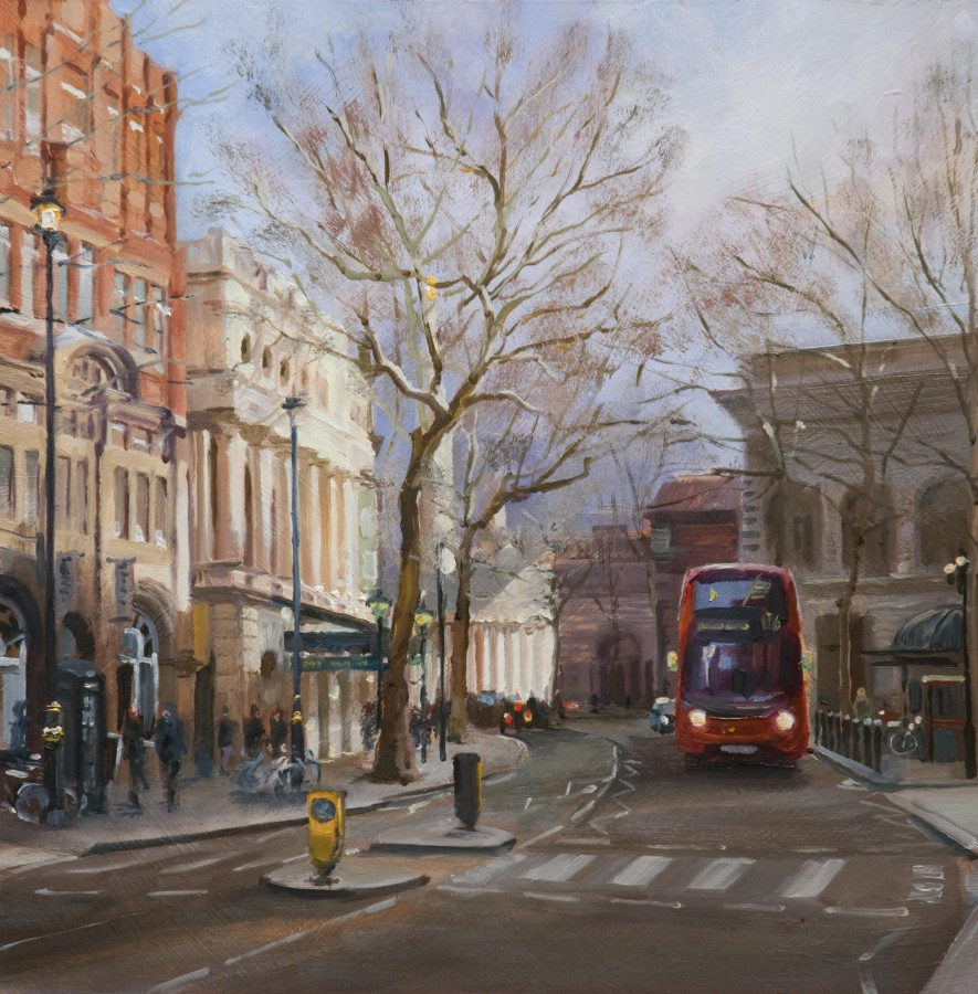 <p><strong><em>Charing Cross Road </em></strong>Oil on Board 30cms x 30cms Framed &pound;650</p>