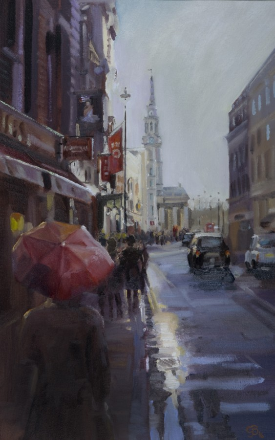 <p><strong><em>Sunshine and Showers - St Martin&#39; Lane &nbsp;</em></strong>Oil on canvas 50cms x30cms Framed &pound;425.00</p>