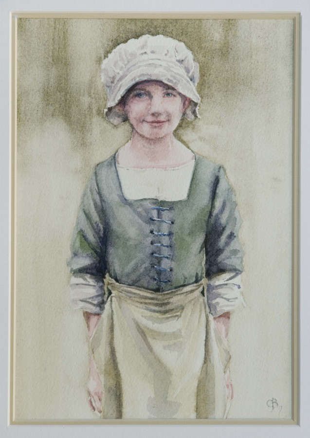 <p><strong><em>Kentwell Girl </em></strong>Watercolour 27cms&nbsp; x 19cms Framed &pound;120</p>