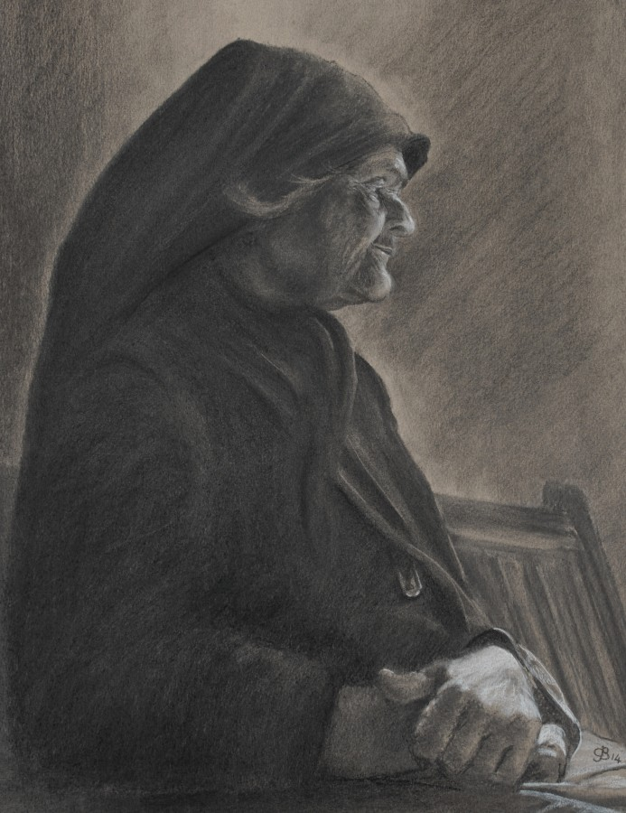 <p><em><strong>Old Eleni</strong></em> - Charcoal on paper - 45 x 35cms £95.00</p>