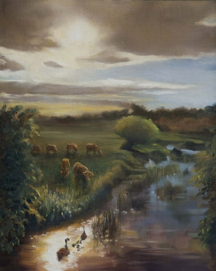 <p><strong><em>Pastorale - River Lea</em></strong> Oil on Board 30cms x 24cms &pound;165</p>
