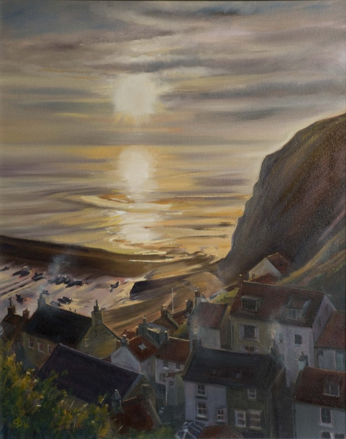 <p><strong><em>Staithes Sunrise </em></strong>Oil on Canvas 50 x 40 cms &pound;350 Framed</p>
