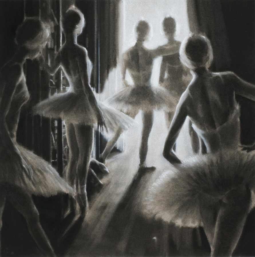 <p><em><strong>Swans in the Wings</strong></em><strong> </strong>Charcoal 50 x 50 cms SOLD</p>