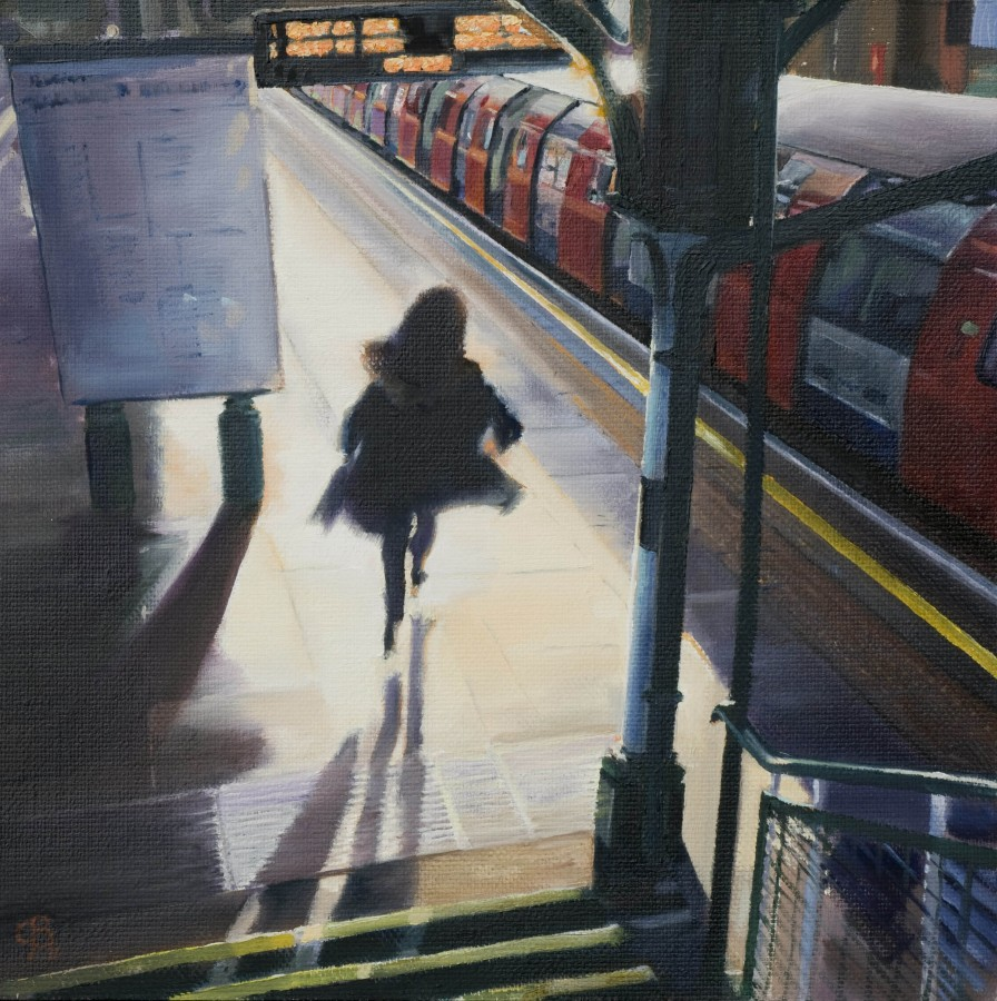 <p><strong><em>This Train is about to Depart </em></strong>Oil on canvas 30cms x 30cms &pound;295</p>