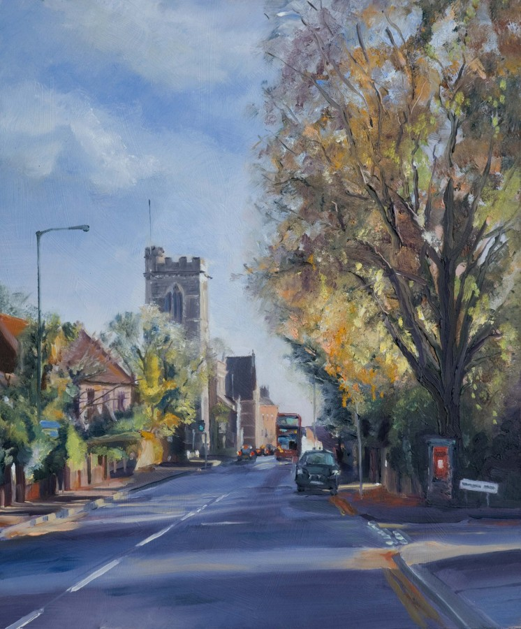 <p><strong><em>Wood Street - Barnet </em></strong>Oil on Board 30cms x 25cms&nbsp;SOLD</p>